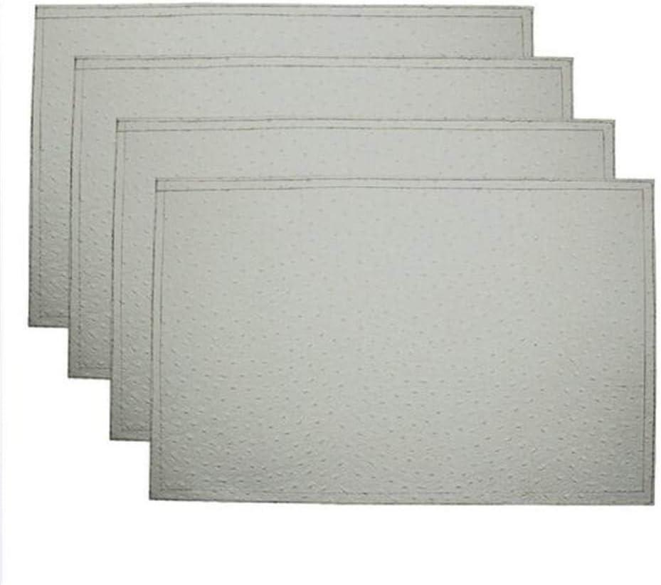QYL Manteles Individuales de Piel Conjunto de 4 Doble Capa de PVC Slap-up Grano de la Avestruz de manteles Individuales de Cuero Cocina Bonded,Blanco