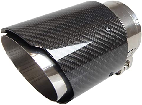 Car Carbon Fiber Exhaust Pipe Tail Throat 54MM IN-89MM OUT Muffler Tip Durable