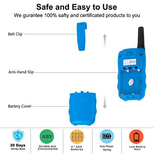 Walkie Talkie 4 Pack,Voice Activation Walkie Talkies for Boys, Best Toys Walky Talky 3 Miles Long range 22 Channels Handheld FRS GMRS Two Way Radios Hunting Hiking Camping (VT-8 Blue) by Wishouse (Image #6)