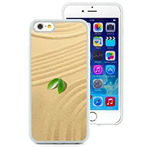 NEW Unique Custom Designed iPhone 6 4.7 Inch TPU Phone Case With Small Green Leaves Sand_White Phone Case