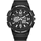 SMAEL Women's Sport Wrist Watch Quartz Dual Movement with Analog-Digital Display Watches for Women (Black)