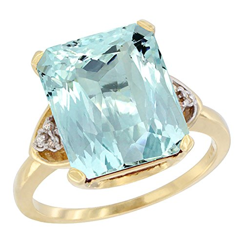 (14K Yellow Gold Natural Aquamarine Ring Octagon 12x10mm Diamond Accent, size 8)