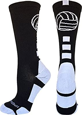 MadSportsStuff Volleyball Logo Crew Socks (Multiple Colors) from MadSportsStuff