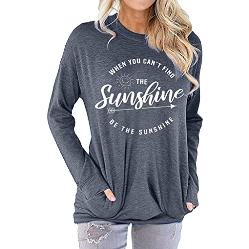 ◆ HebeTop ◆ Casual Letter Print Women T-Shirt 2019 Spring T-Shirts Tops Long Sleeve Shirts with Pocket Gray (The Best Of Frank Zappa 2019)