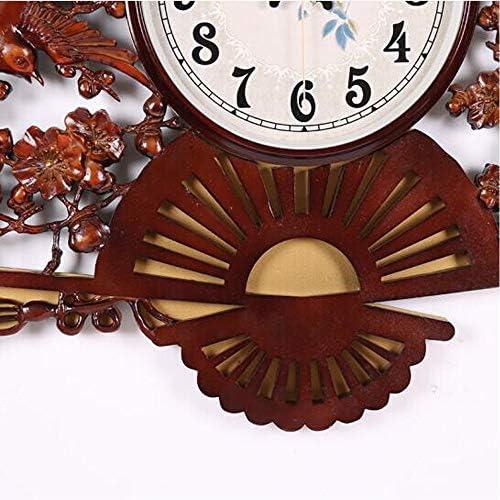 KUQIQI 中国風の扇形のミュートレトロな壁掛け時計クリエイティブリビングルームクォーツ時計寝室の時計壁時計ブラウン (Color : Brown)