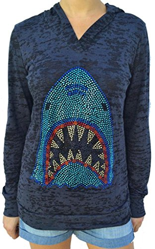 SoRock Women's Rhinestone Shark Burnout Hoodie XXLarge (Rhinestone Sweater)