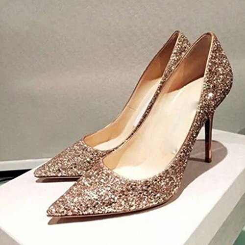 Zapatos de Tacón Alto con Lentejuelas de Gradiente con Zapatos Individuales Do