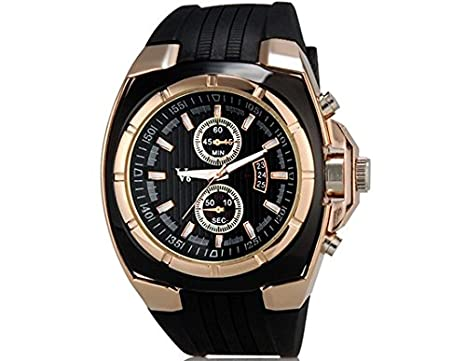 Amazon.com: VONCE V6 Super Speed V0048 Mens Fashionable Wrist Watch with Calendar Function & TPU Rubber Band (Golden): Watches