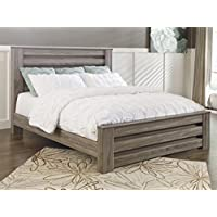 Zerlien Casual Wood Warm Gray Color King Poster Bed