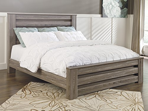 (Zerlien Casual Wood Warm Gray Color King Poster Bed )