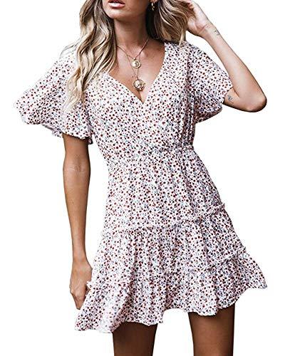 (Bbalizko Womens Deep V Neck Wrap Dress Boho Floral Print Ruffle Short Sleeve Beach Swing Dresses White)
