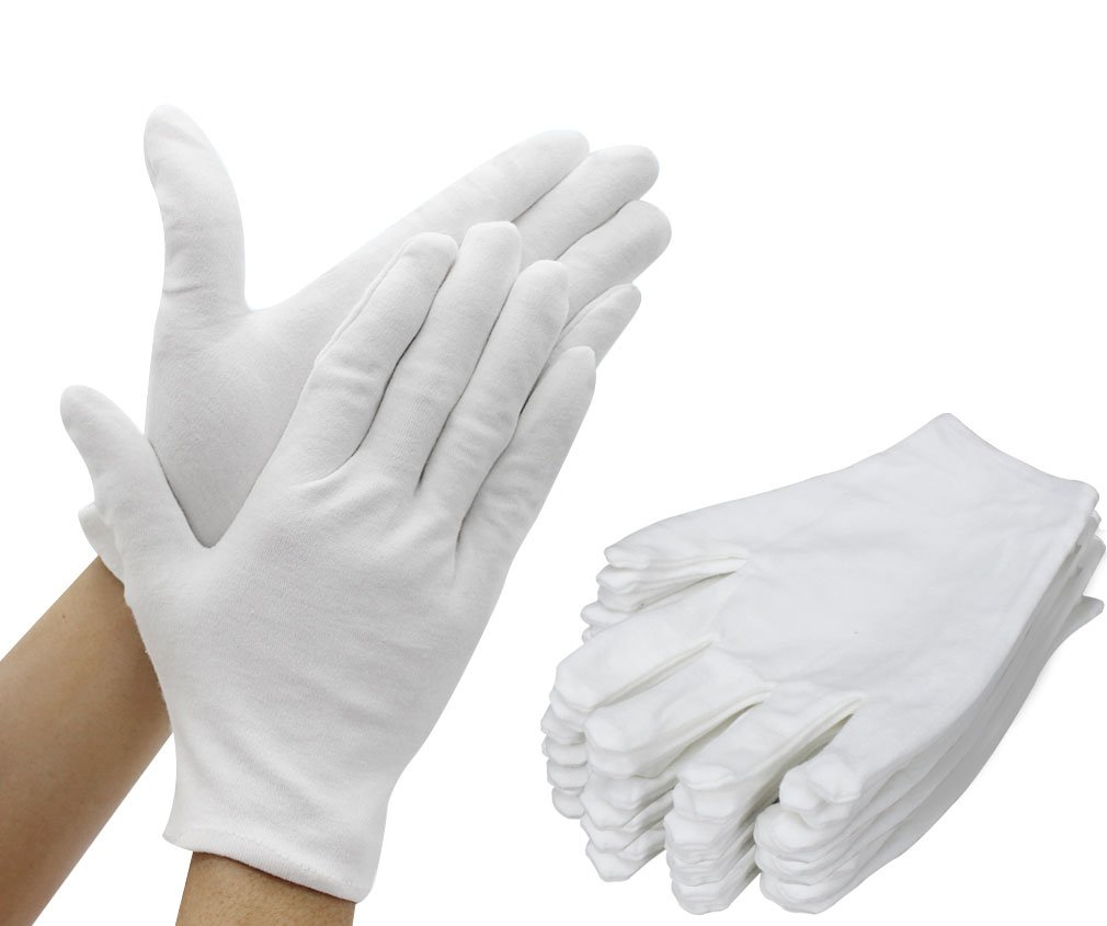 Amariver 12 Pairs White Cotton Gloves, 8.6'' Large Size Thicker and Resuable Soft Works Glove for Coin Jewelry Silver Inspection