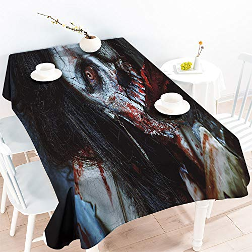 Garden Party Tablecloth Spillproof Table Scary Dead Woman with Bloody Axe Evil Fantasy Gothic Mystery Halloween Picture W 70