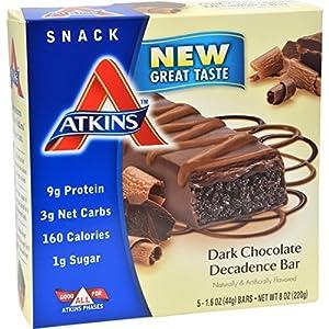 Atkins Advantage Bar Dark Chocolate Decadence - 5 Bars-By BlueTECH