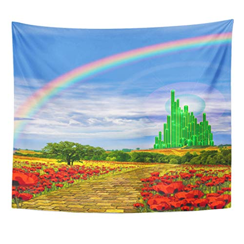 Emvency Tapestry Fields Musical The Yellow Brick Road Leading Into Emerald City in Land of Oz Poppy Rainbow Home Decor Wall Hanging for Living Room Bedroom Dorm 50x60 Inches ()