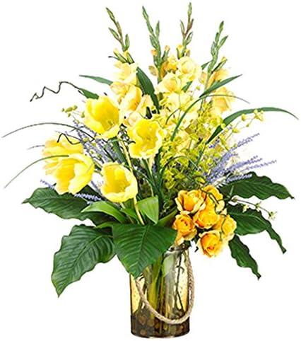 33 Hx25 W Gladiolus Tulip Rose Bells Of Ireland Silk Flower Arrangement Yellow Orange Amazon Ca Home Kitchen
