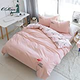 ORoa New Flamingo Teen Girl Bedding Sets Twin with 2 Pillow Sham, Reversible Cotton 100 Twin Duvet Cover Set for Kids Adult Women Student (Twin, Style 4)
