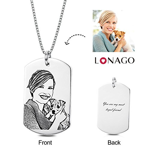 Dog Charm Photo Necklace Tag (LONAGO Personalized Photo Necklace Heart Custom Engraved Dog Tag Pendant Christmas Birthday Gifts for Women Men(Rectangle-Sterling Silver, 18))