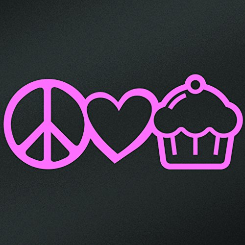 Peace Love Cupcakes Vinyl Decal Sticker | Cars Trucks Vans Walls Laptops Cups | Pink | 7.5 X 2.9 Inch | KCD1628P