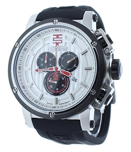 Technosport TS-900-1 Men's 48mm Swiss Chrono Watch Red Accents On Silver-Tone Dial
