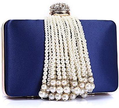 ハンドバッグ - 水平正方形綿ネルフリンジイブニングバッグ、ヴィンテージハイエンドチェーンレディーハンドバッグ、ブルー/ピンク/赤、17 * 4 * 11センチメートル よくできた (Color : Blue)