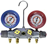 Yellow Jacket 46130 Brute II 4-Valve Manifold with (C) Red/Blue Gauges, bar/MPa, R-12/22/502