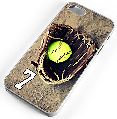 iPhone Case Fits iPhone 8 PLUS 8+ Softball Dinger Any Custom Jersey Number 7 Clear (Diamond Fielders Glove)