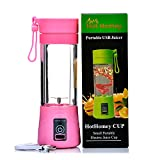 Hot Homey Portable Blender - Rechargeable USB Juicer Cup - Personal Juicer - 380ml Electric Fruit Mixer, Protein Shaker with USB Charger Cable - Perfect for Home, Office, Travel and Outdoors