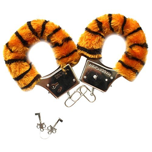 ACSUSS Furry Fuzzy Handcuffs Working Metal Cuffs for Women Men Adult Play Tiger Stripes One (Male Slave Halloween Costume)