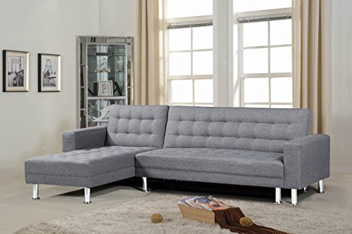 "Superior Importers Company Oliver Smith - Large Grey Linen Cloth Modern Contemporary Upholstered Quality Sectional Left or Right Adjustable Sectional 99"" x 61"" x 33"" price tips cheap"