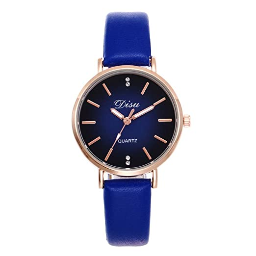 Loweryeah Rhine Stone Lady Pu Strap Quartz Wrist Watch Alloy Case (Blue)