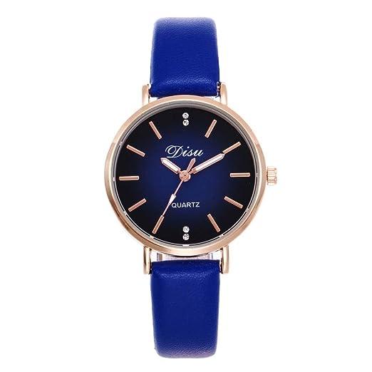 Loweryeah Rhine Stone Lady Pu Strap Quartz Wrist Watch Alloy Case (Blue)