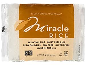 Miracle Noodle Zero Carb, Gluten Free Shirataki Rice, 8-Ounce (Pack of 6)