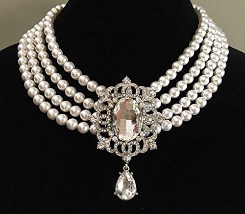 Amazon com: Elegant Pearl Wedding Necklace with Crystal