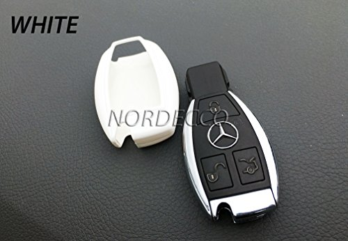 [HIGH GLOSS ABS HARDSHELL PROTECTIVE CASE COVER FOR MERCEDES-BENZ 2 3 BUTTON KEY FOB MERCEDES A AMG B C E G K R S CLASS CLA GLA VITO R 45 CLA GLA ML GLE 6.3 45 MODELS ML GLK CLK (WHITE)] (Hardshell Gloss)