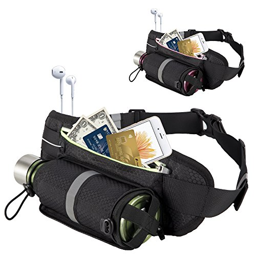OFTEN Sports Belt Runing Waist Pack with Water Bottle Holder Purse Pockets and Key Ring Waterproof Walking Belts Fitness Hiking Pouch Bag Cycling Hip Bag Fits IphoneX 8 7 6s 6+,Galaxy S9 S8 Plus, S7