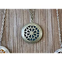 "Aromatherapy Diffuser Necklace Pendant for Essential Oils. 1.15"" Antique Bronze Round Locket with Two Chains (21"" & 28"") and 5 Colored Felt Pads (Purple, White, Pink, Red & Green)"