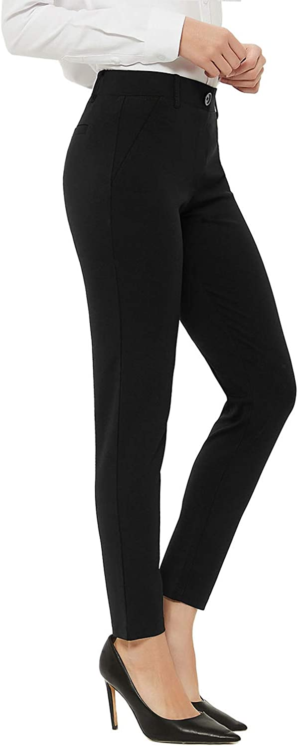 FIRST WAY WOMEN`S 26`` | 28`` | 30`` TALL REGULAR PETITE SKINNY DRESS PANTS FOR OFFICE WORK STRETCHY CAREER PANTS