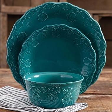 Pioneer Woman Dinnerware Set Ree Drummond 12 Pc Cowgirl Lace (Teal)