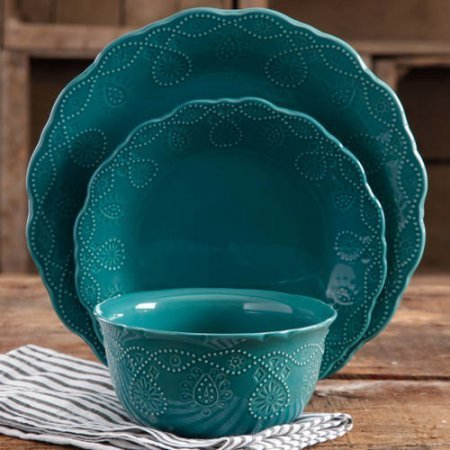 The Pioneer Woman 82780.12R Cowgirl Lace 12-Piece Dinnerware Set (Teal)