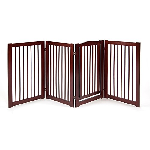 Primetime Petz 360 Configurable Dog Gate with Door - Indoor Freestanding Walk Through Wood Pet Gate