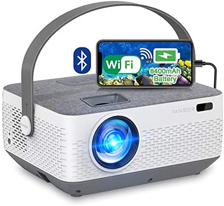 WiFi Projector Bluetooth 8400mAh Battery, Rechargeable Portable Home Projector, FANGOR 1080P Outdoor Movie Projector with Sync Smartphone Screen by means of WiFi/USB Cable, Compatible with iPhone, Laptop