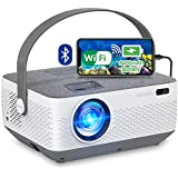 WiFi Projector Bluetooth 8400mAh Battery  Rechargeable Portable Home Projector  FANGOR 1080P Supported Movie Projector with Sync Smartphone Screen via WiFi/USB Cable  Compatible with iPhone  Laptop