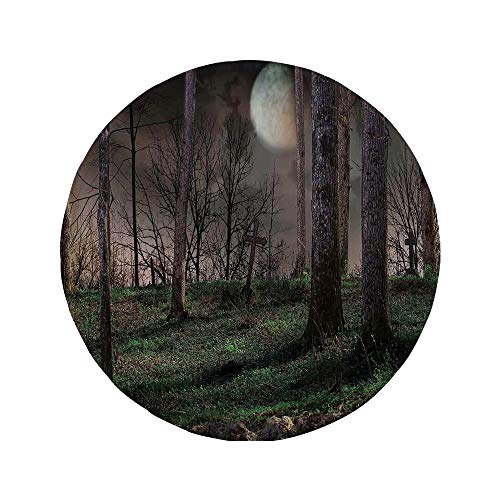 Non-Slip Rubber Round Mouse Pad,Gothic,Dark Night in The Forest with Full Moon Horror Theme Grunge Style Halloween,Brown Green Yellow,7.87