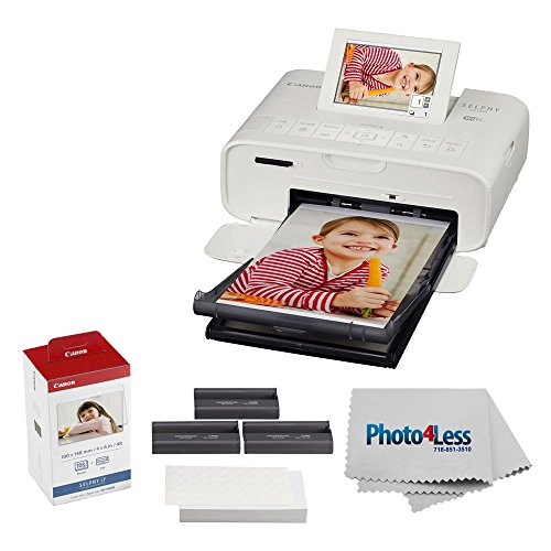 Canon SELPHY CP1300 Compact Photo Printer (White) + Canon KP-108IN Color Ink and Paper Set + Photo4Less Cleaning Cloth - Deluxe Printing Bundle (Foto Printer)