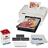 Canon SELPHY CP1300 Compact Photo Printer (White) + Canon KP-108IN Color Ink and Paper Set + Photo4Less Cleaning Cloth – Deluxe Printing Bundle