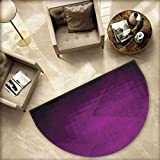 Eggplant Half Round Door mats Abstract Purple Squares in Faded Color Scheme with Modern Art Inspired Style Pixelart Bathroom Mat H 55.1'' xD 82.6'' Purple