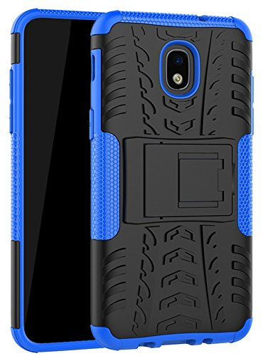 Samsung Galaxy J3 2018 Case,J3 Achieve,J3 Express Prime 3,Amp Prime 3,J3 Star,J3 Eclipse 2,J3 V 3rd Gen, Yiakeng Shockproof Protective with Kickstand Phone Cases (Blue)