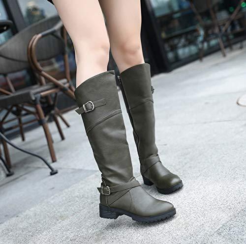 Europäischen Hohe Stiefel 2018 Herbst Größe LIANGXIE Und Army Winter Amerikanischen Und Frauen Martin Große Stiefel Stiefel green XxnpST