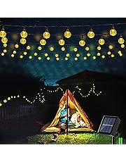 Geemoo Lichtsnoeren voor buiten, 9M 60 LED Solar Lichtsnoer Buiten, 8 modi, IP65 waterdicht lichtketting buiten, Decoratieve verlichting voor Buiten tuin, bomen, terras, Warm wit